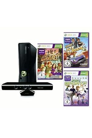 Microsoft X-Box 360 slim 4 GB Kinect Bundle + 3 Spiele (Kinect JoyRide, Kinect Adventures, Kinect Sports)