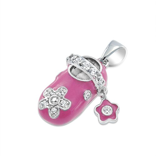 Bling Jewelry Sterling Silver Pink Enamel Cz Baby Shoe Charm Pendant