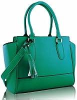 Ladies Designer Tassles Womens Faux Leather Grab Tote Handbag KCMODE
