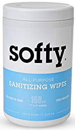 Sanitizing Wipes for Hands + Surface. Extra Large Antibacterial Sanitizer Wipes. Alcohol-Free. (1 canister (150 wipes))