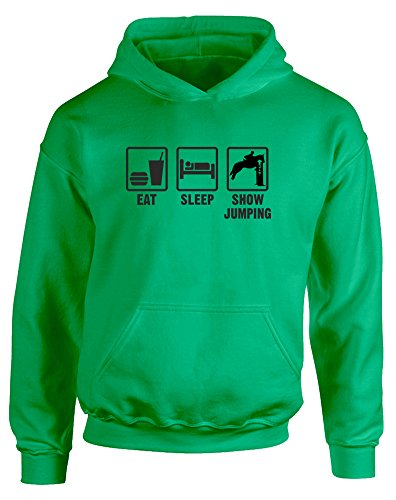 Eat Sleep Show Jumping, Kids Printed Hoodie - Kelly Green/Black 5-6 Years