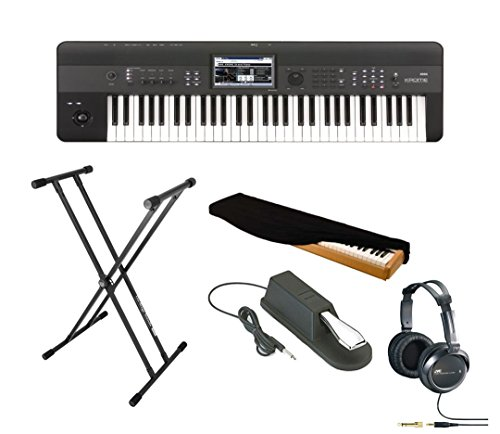 Korg Krome 61-Key Music Workstation Keyboard & Synthesizer With Keyboard Stand, Piano Style Sustain Pedal, Full-Size Headphones And Keyboard Dust Cover