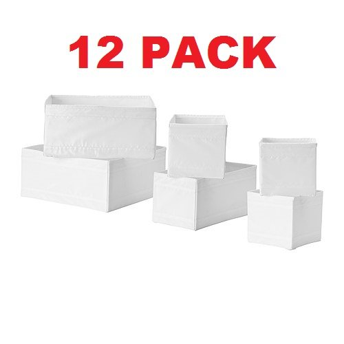 Ikea Drawer Storage Organizer Box Bin Tote White (12 Piece) (Clothing Storage Drawers compare prices)