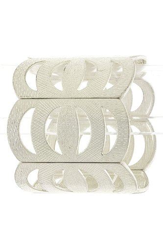 Trendy Fashion Jewelry Crescent Fence Bracelet By Fashion Destination | (Silver)