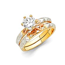 """buy Wellingsale® Ladies Solid 14K Tri 3 Color Gold Polished Cz Cubic Zirconia Round Cut Engagement Ring, And """"Love"""" Wedding Band, 2 Piece Matching Bridal Set, Aaa Grade Highest Quality - Size 8.5"""