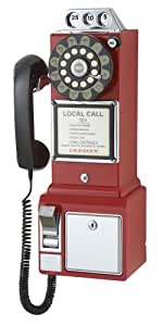 Crosley CR56-RE 1950's Payphone with Push Button Technology (Red)