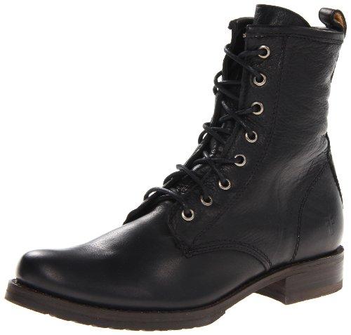 FRYE Women's Veronica Combat Boot, Black Soft Vintage Leathe