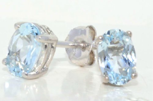 1 Carat Genuine Aquamarine Stud Earrings .925 Sterling Silver Rhodium Finish