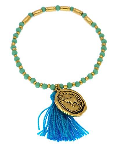 Lucky Charma Elephant Wet Seal Charm Stretch Beaded Bracelet Tassel (Wet Seal Bracelet compare prices)