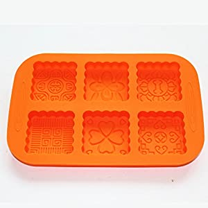 X-Haibei New 6-Cavity Square Mooncake Chocolate Muffin CupCake Soap Silicone Mold Pan