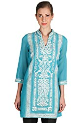 Turquoise Georgette Kurti with Intricate Embroidery