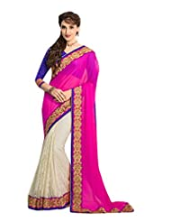 DesiButik's Lavishing Pink And Off-White Pure Chiffon And Net Saree