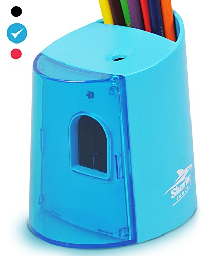 Electric Pencil Sharpener Battery Operated with Pencil Holder - No Cord - Free PDF Coloring Book (Blue) (Corded Electric Eraser compare prices)