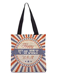 Snoogg Independence Day Greeting Card In Vintage Style Designer Poly Canvas Tote Bag