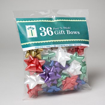 Pack of 36 Christmas Star Bows. Peel-n-stick