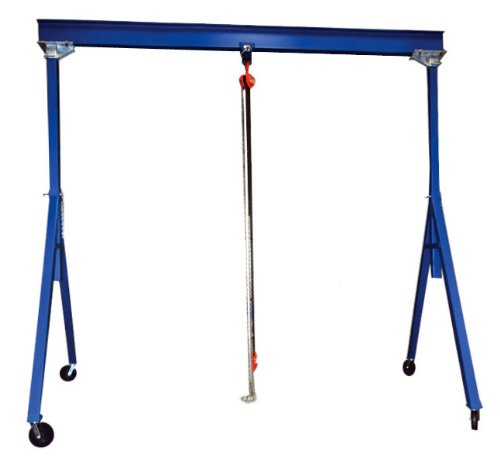 Bear Claw Adjustable Height Steel Gantry Crane; Capacity (LBS): 6,000; Beam Length: 10' ; Beam Height: 8