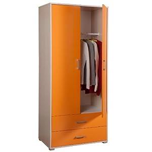 Armadio arancione acero due ante e due cassetti cameretta for Armadio amazon