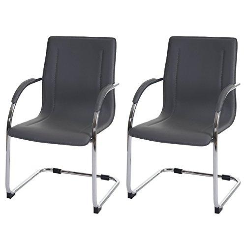 Set 2x sedie ufficio a slitta Samara acciaio ecopelle 56x60x96cm ~ grigio