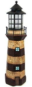 "39"" Lighthouse Solar Powered Garden Sculpture Figurine Light. Red Stripe"