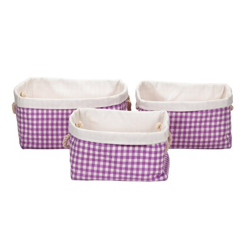 Landon Tyler Check Rectangle Storage Boxes, Set of 3, Lilac