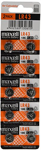 10pcs Maxell LR43 1.5v Alkaline Button Batteries also known as AG12 301 386 L1142 LR1142 186 D301 D386