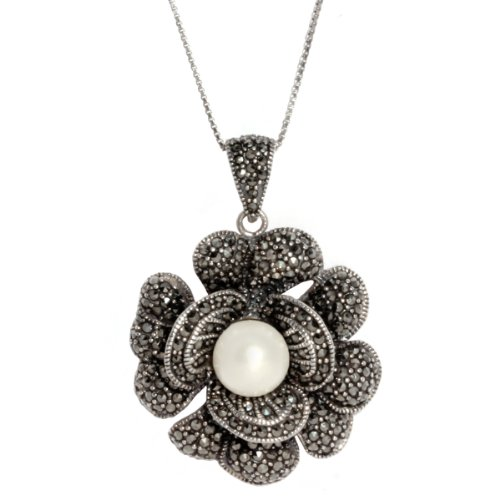 Sterling Silver Marcasite Flower with Freshwater Cultured Pearl Pendant Necklace, 18