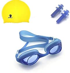 Abtrix 3 in 1 High Quality Swimming Cap and Goggles for Kids with ear protecter