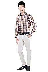 T.D.G Casual Long Sleeve Cotton Shirt (Orange)