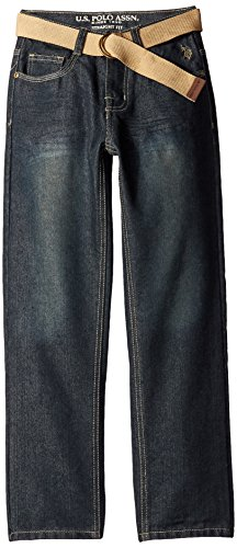 U.S. Polo Assn. Big Boys' Pocket Denim Jeans with Belt, Berkeley Wash, 16