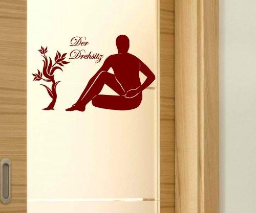 Türaufkleber Der Drehsitz Yoga Sport Übung Sticker Schriftzug Aufkleber 5G076, Farbe:Schwarz glanz;Breite vom Motiv:25cm