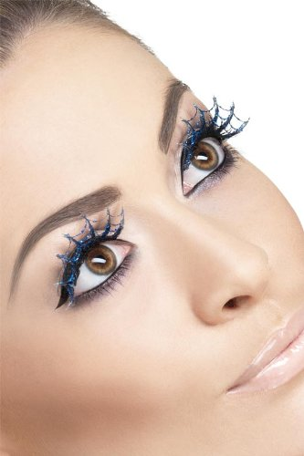 Fever Eyelashes Web Spiderwebs Glitter, Blue, One Size - 1