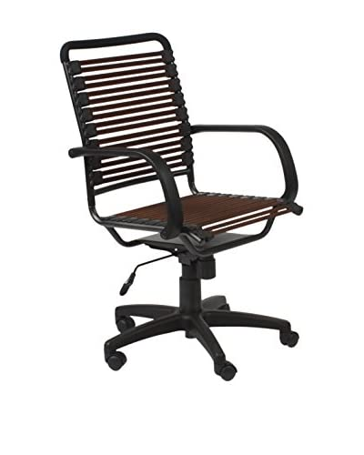 Euro Style Bungie Flat High Back Office Chair, Brown