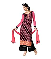 DIVISHA FASHIONS PINK AND BLACK FAUX GEORGETTE DRESS MATERIAL WITH DUPATTA