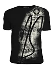 PS T-Shirt With Grunge Print - Black C-neck