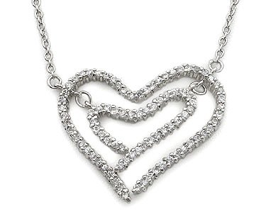 CUBIC ZIRCONIA NECKLACES - Sterling Silver Double Open Heart Pave CZ Necklace