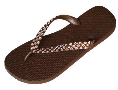 Cheap BROWN CHECKERED Swarovski Crystal Havaianas Flip Flops Sandals Thongs sizes 5-11 (B002H41AYM)