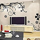 E-Love Enjoy Life Passion Tree Leaves Flowers Simple Vine Removable Mural Wall Stickers Wall Decal for Home Decor