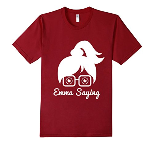 Mens-EmmaSaying-Fan-Club-Logo-T-Shirt-Nerdy-Girl-With-Glasses-Cranberry