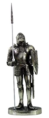 """Medieval Knight 7"""" Tall Pole Pikeman Special Unit Statue Figurine Suit Of Armor"""