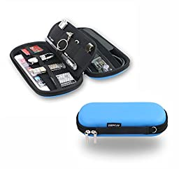 ZHPUAT 5 Layers,6 Credit Card Pocket, Digital Gadget Case, Designed For External Hard Drive,Good for Traveling and Office Color Blue