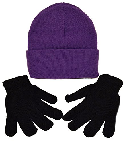 Youth - Adult Minion Costume Kit / 1 Purple Beanie & 1 Pair Black Gloves (Purple) (Minions Movie: Minion Kevin Adult Costume)