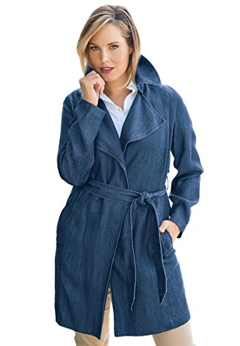 Jessica London Womens Plus Size Soft Tencel Denim Trench Coat