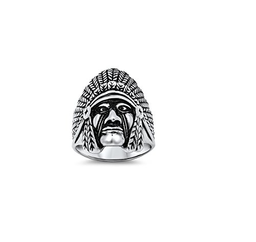 Native American Chief Ring 31Mm Stainless Steel Size 9