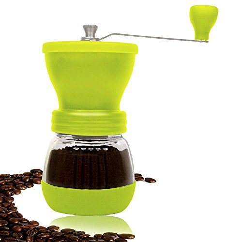 PuTwo B0140MRZCO Coffee Grinder Burr Coffee Grinder Stainless Steel with Ceramic Hand Crank, Green