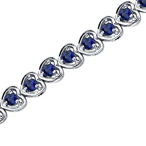 Dainty Hearts: Round Shape Blue Sapphire Gemstone Bracelet in Sterling Silver Rhodium Nickel Finish from peora