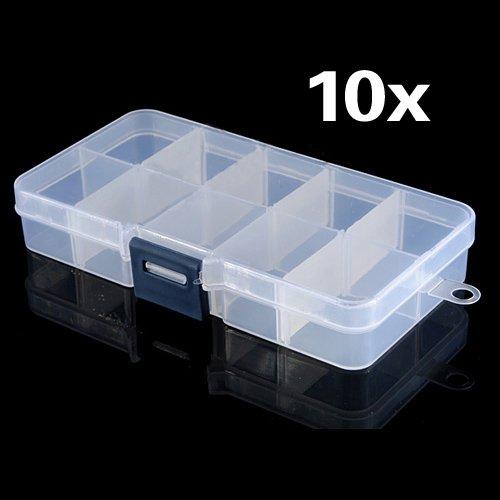 SODIAL (R) Nail 10pz 10 scomparti in plastica punte Arte, Artigianato, gioielli di caso di immagazzinaggio Box Regno Unito