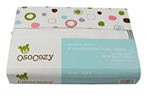 OsoCozy 6 Pack Prefolds Bleached Cloth Diapers, Size 2