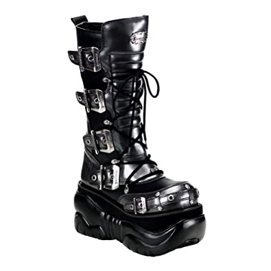 4 Inch Platform MENS SIZING Black & Grey Goth Boots Gothic Boots Buckles Lace Up Size: 12