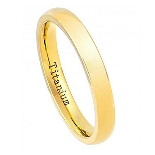 Free Engraving -3Mm Titanium Wedding Band Ring Polished Yellow Gold (8)