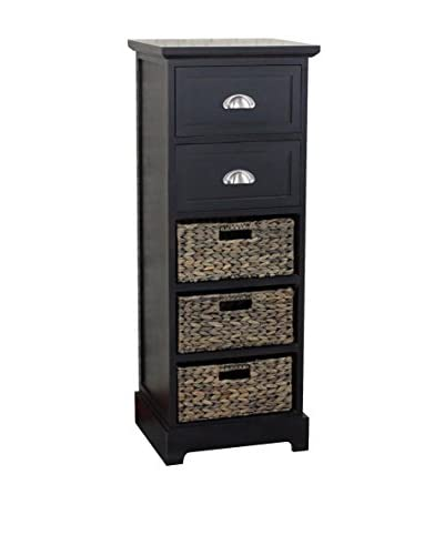 Gallerie Décor Newport 2-Drawer & 3-Basket Table, Espresso